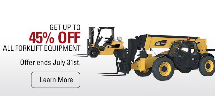 Get up to 45% off all forklift equipment through July.